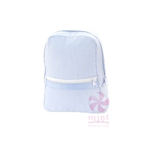 Baby Blue Seersucker Small Backpack