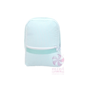 Mint Seersucker Small Backpack