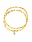 Cross Charm Stretch Bracelet Set