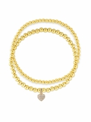Heart Charm Stretch Bracelet Set