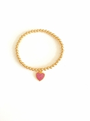 Pink Heart Charm Stretch Bracelet